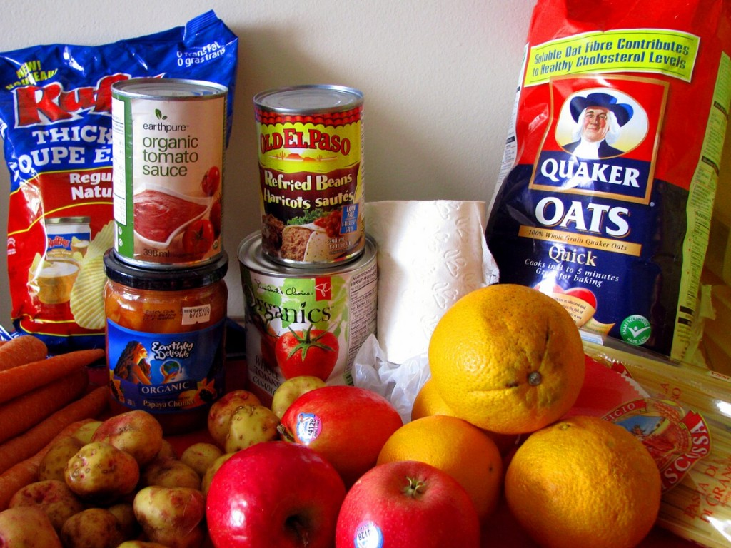 Volunteering at a food bank helps others to receive healthy food.